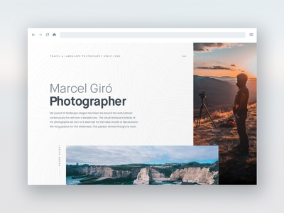 Marcel Giró landscape white website ui photographer layout editorial minimal clean