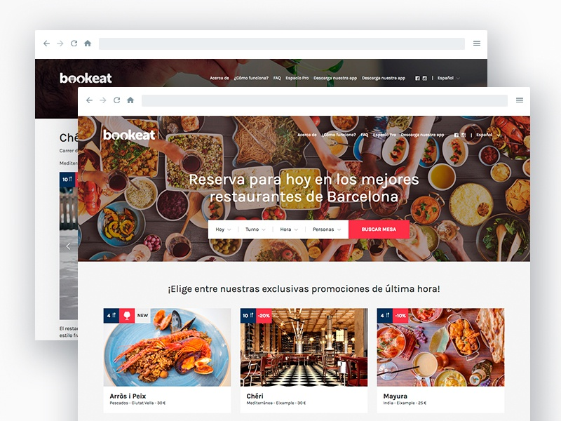 Bookeat foodie startup bookeat minimalist grid white red blue ux ui website webdesign