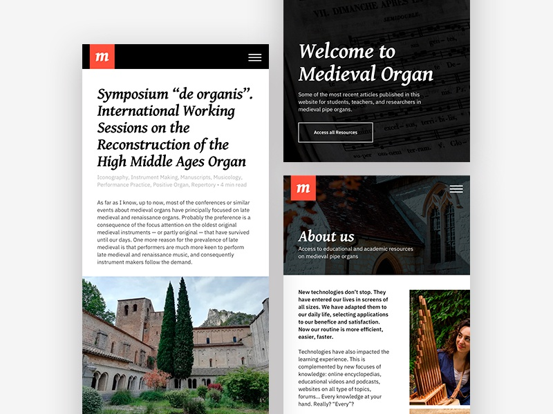 Medieval Organ minimalist white red black medieval website mobile ui ux