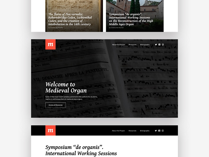 Medieval Organ medieval black white red minimalist website design ui ux