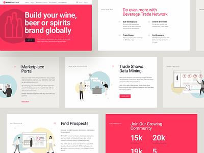 Beverage Trade Network. Marketplace website design typography layout design website webapp uxui ux ui