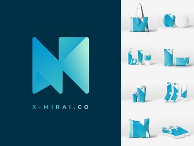X - Mirai Logo Concept by Rania Amina mockup set gradient logo gradient logo gimpscape inkscape
