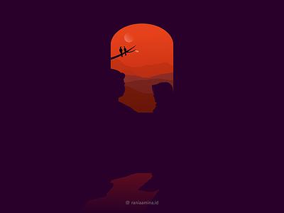 I'll Back to You trilogy silhouette couple love gimpscape dusk sky orange illustration inkscape