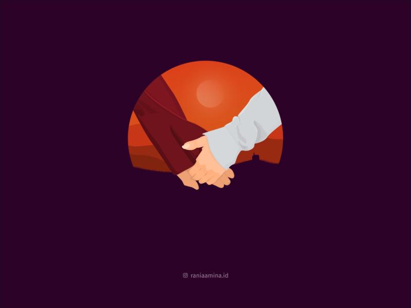 """Us :"""") couple love trilogy dusk gimpscape orange illustration inkscape"""