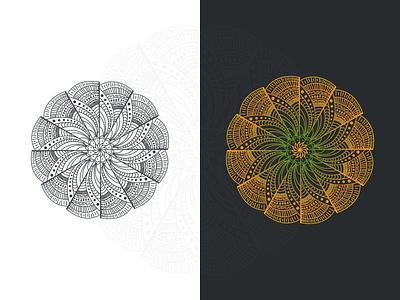 Mandala with Nature Element inkscape graphic ornamental meditation drawing circle tattoo illustration decorative art vintage floral decoration background element pattern flower ornament mandala ethnic