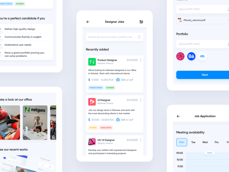 Find your product designer job overlay dashboard mobile app find hire job offers jobs cards ui design clean product design overview