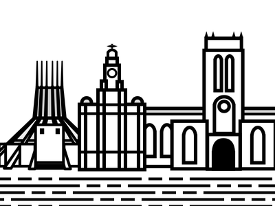 Mersey sights vector lines cathedral buildings liver liverpool
