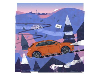 Audi Q3 illustration for autoTRADER's #MyGamechanger Campaign snow toronto car audi advertising editorial texture pastel digital photoshop design mixed media art illustration