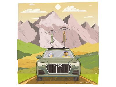 A6 Allroad illustration for autoTRADER's #MyGamechanger campaign bikes calgary rocky mountains car audi editorial marketing texture pastel digital photoshop design art mixed media illustration