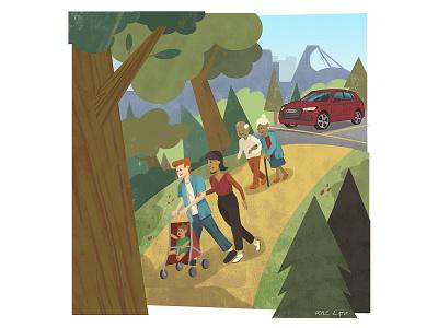 Audi Q5 illustration for autoTRADER's #MyGamechanger Campaign family park montreal audi car advertising editorial texture pastel digital photoshop design illustration mixed media art