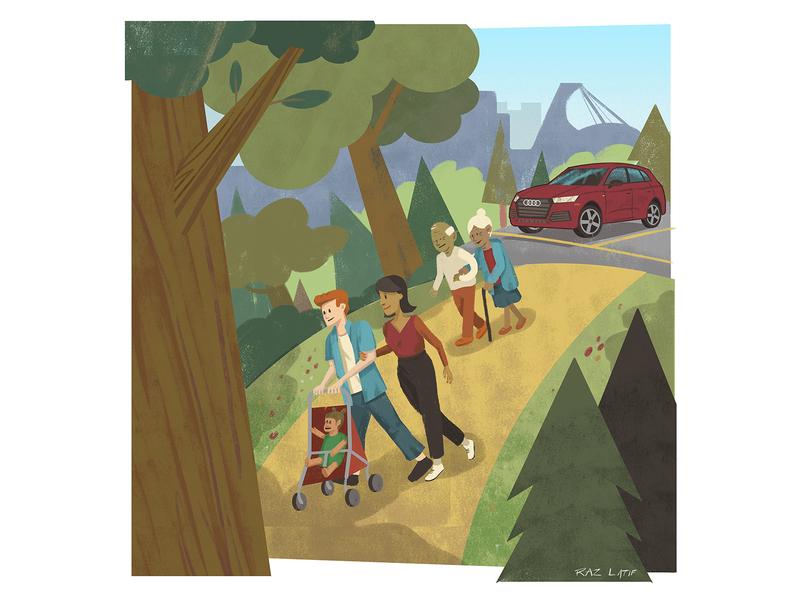 Audi Q5 illustration for autoTRADER's #MyGamechanger Campaign