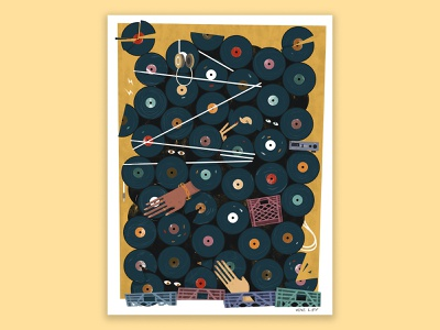 Vinyl Collection vinyl record music advertising adobe texture pastel digital photoshop design illustration mixed media art