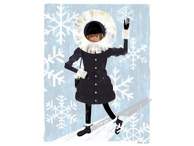 Snowflake winter woman fashion portrait texture pastel digital photoshop design illustration mixed media art
