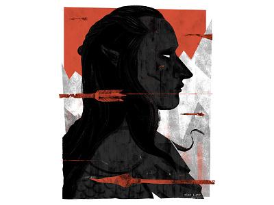 Dark Elf elves fantasy portrait adobe texture pastel digital photoshop design illustration mixed media art