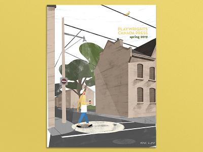 Playwright Canada Press: Spring 2019 cover advertising magazine print design texture pastel digital photoshop design art mixed media illustration