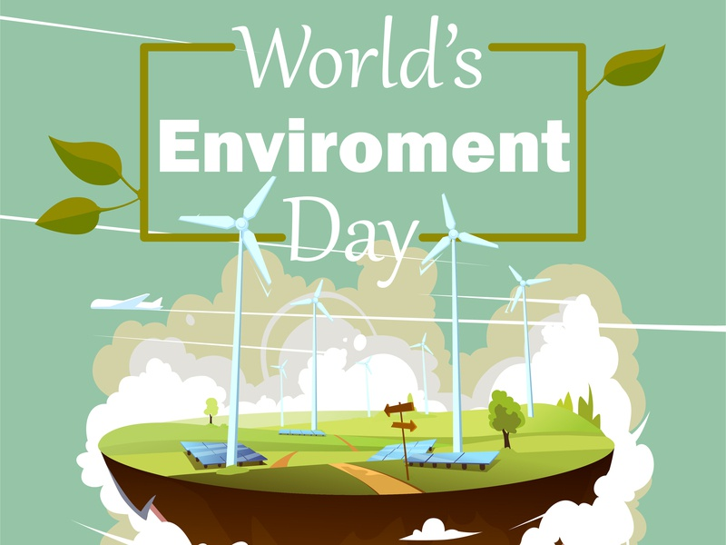 Worlds environment day minimal design vector illustration flat