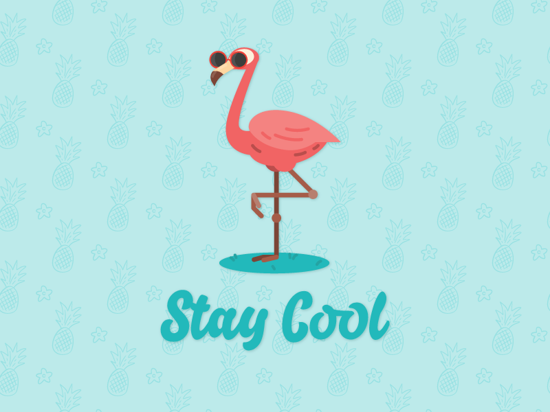 Stay Cool hot cool flamingo summer vector 2d design ai