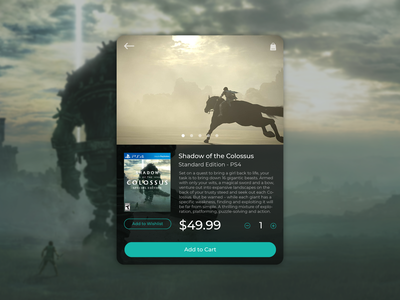 Shadow of the Colossus digital product cart photoshop illustraor digital 2d ps4 videogames ux  ui ux design