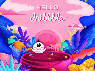 Hello dribbble!!!! hello dribbble invite pink illustration