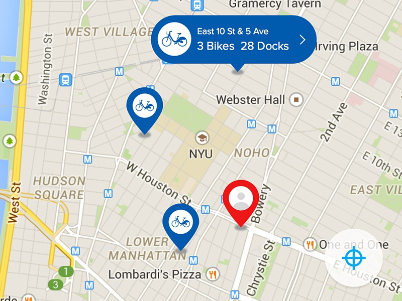 Location Icons in Map View bike map icons location user ui interface app mobile citi bike new york interaction design