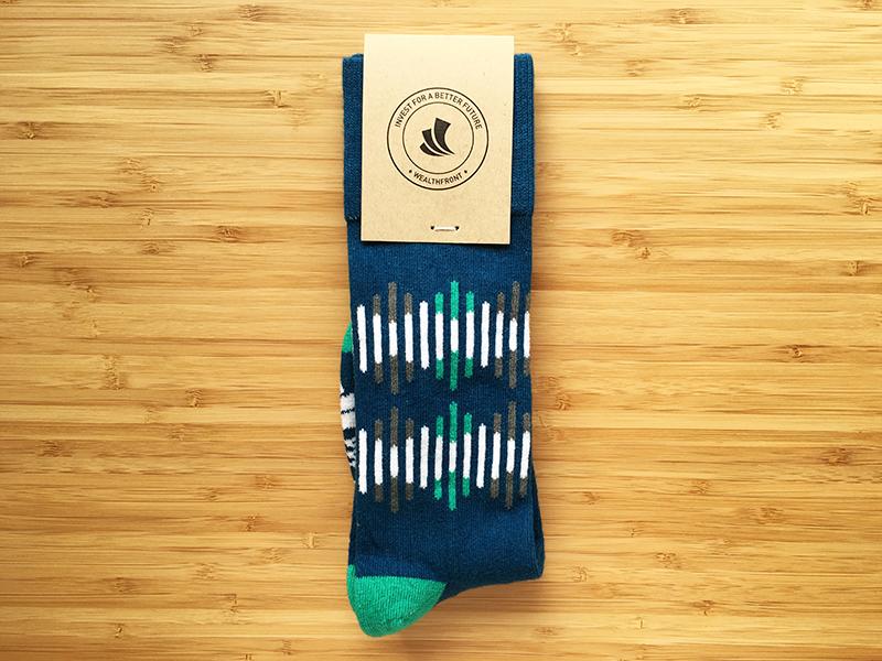 Wealthfront Socks startup finance branding brand pattern recruiting wealthfront startup swag company swag swag socks