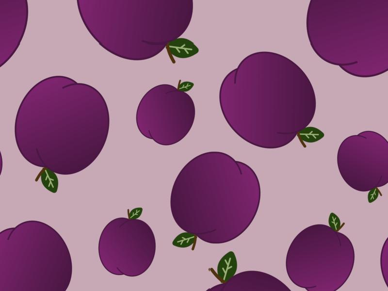 Plum vector pattern fruit 30daychallenge vectober graphic design illustration