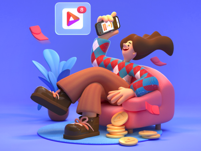Get c4d sofa character app red