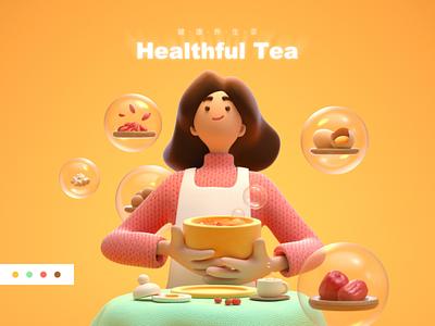 Healthful Tea health 3d character c4d