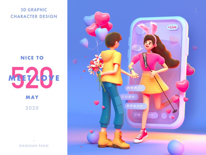 520 MEET LOVE love illustration 3d design c4d character