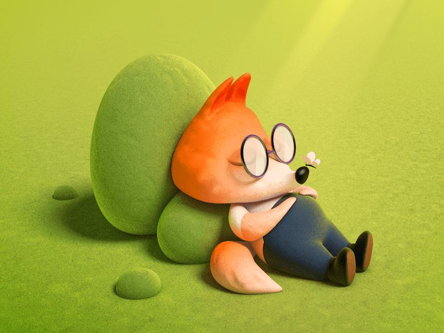 A Sleeping Fox 3d character illustration design c4d