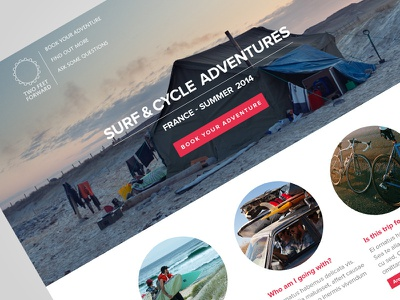 2ff Homepage surfing camping cycling website design