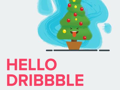 My first shot dribbble christmas tree hello invite