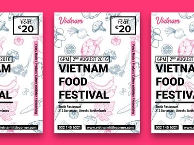 Vietnam food festival poster netherlands event poster food vietnam