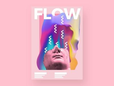 Flow flow pink gradient baugasm typographic poster