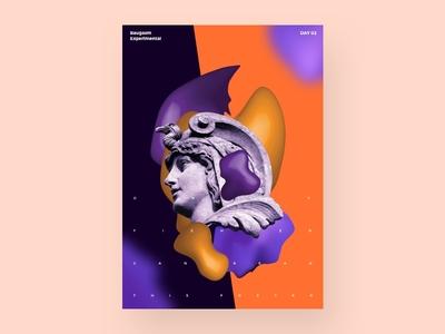 Fighter poster typographic poster orange purple gradient statue fighter baugasm