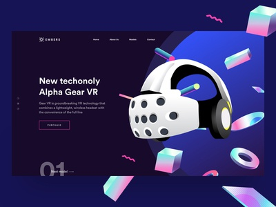 UI practice - VR gear landing page circle dark page landing gear holographic vr
