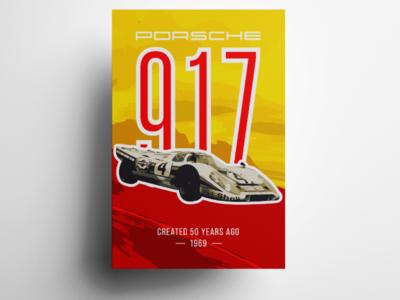 Porsche 917 adobe illustrator vector poster speed car hobby 917 porsche art illustration