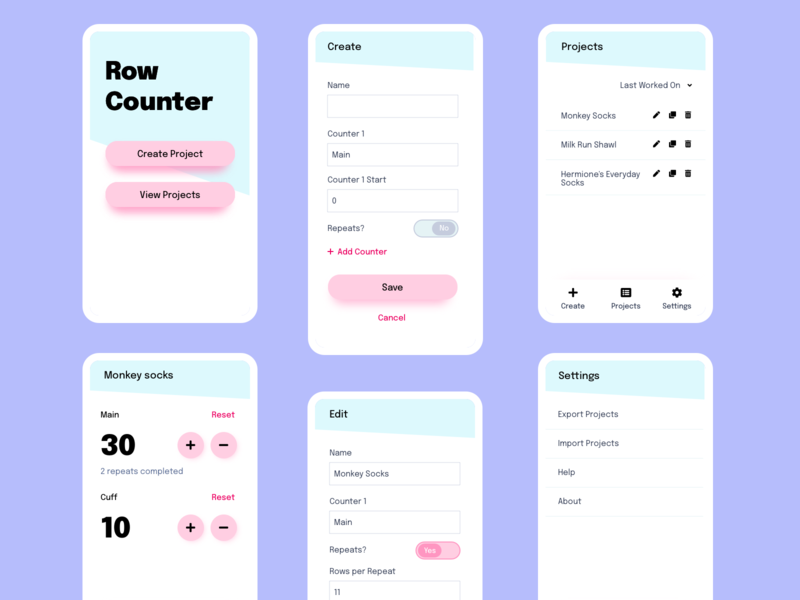 Row Counting App crochet knitting crafting ui design