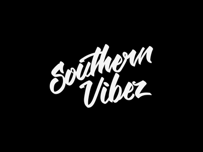 Southern Vibez Logotype podcast logo typography hand drawn type script dj logo