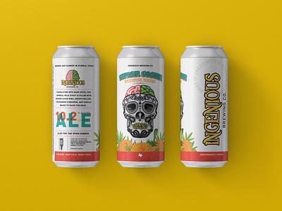 Ingenious Brewing Can Label Especia Oscura Mockup stout dia de los muertos calavera sugar skull craft beer beer labels beer label design beer can beer branding beer art beer