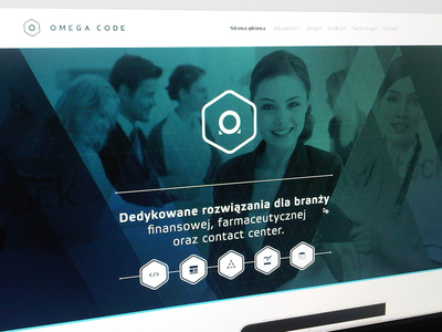 Omega Code www.omegacode.pl web webdesign ui banner icons logo triangle corporate people ico omega line it shape pattern clean design