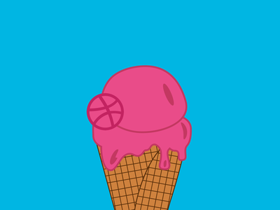 Summer of Dribbble waffle cone icecream dribbble illustration 100daysofcmbos 100daysproject 100daysofillustration