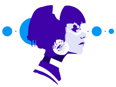 Futuristic robot head machine robot woman anime animation character illustration icon logo white clean blue