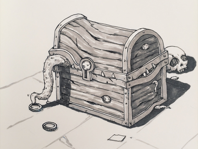 Mysterious Treasure Chest character design mimic illustration doodle sketch drawing