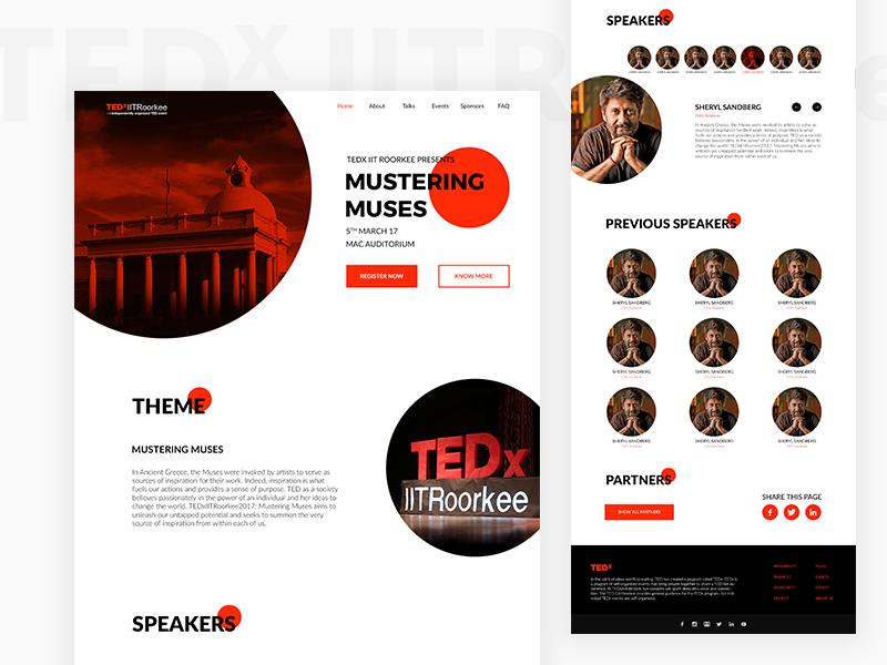 TEDx IITRoorkee Website photoshop interaction ux ui tedx iitroorkee simple user interface conference tedx ted website minimal