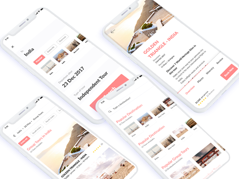 Travel App adobe xd card concept navigation travel guide ui ux interaction iphonex animation photoshop
