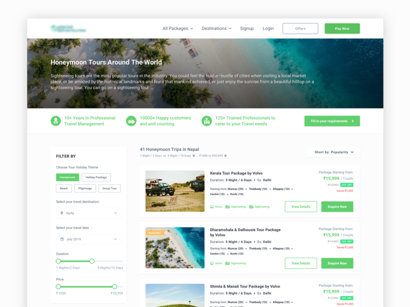 Travel Listing Page website web design interaction ux ui image card filter listing listing page travel