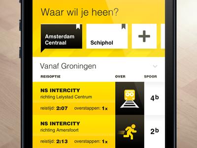SnelTrein interface design: Where to? interface design ui ux public transport mobile