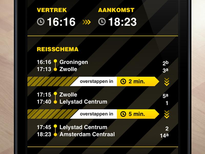 SnelTrein interface design: Switch trains interface design ui ux public transport mobile