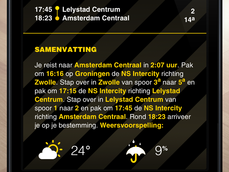 SnelTrein interface design: Travel summary with weather forecast mobile weather interface design ui ux public transport
